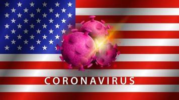 signo de coronavirus covid-2019 en la bandera de EE. UU. vector