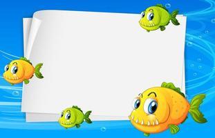 Banner de papel en blanco con muchos peces lindos y en el fondo submarino