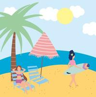 People at the beach doing summer activities vector