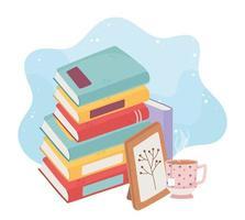 pila de libros con té caliente y marco de imagen vector