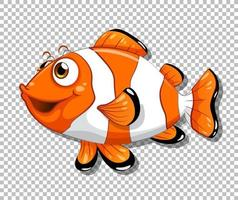 Clown fish cartoon character on transparent background