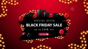 Black Friday special offer, red and black banner