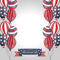 Memorial day celebration banner with American balloons