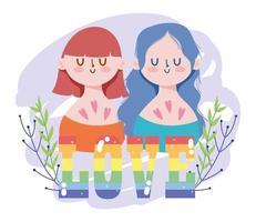 personajes lgbtqi de dibujos animados para la celebración del orgullo