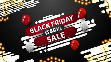 Black Friday discount banner with abstract shape