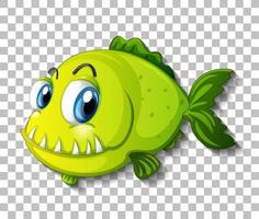 Green exotic fish cartoon character on transparent background