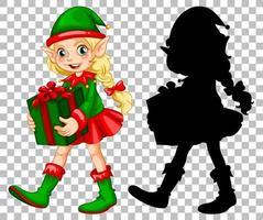Girl elf holding gift