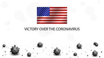 Dead coronavirus viruses and flag of USA.