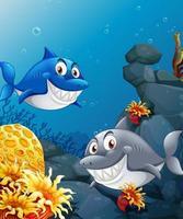 muchos tiburones personaje de dibujos animados en el fondo submarino