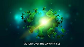 Molécula de coronavirus sobre un fondo oscuro abstracto vector