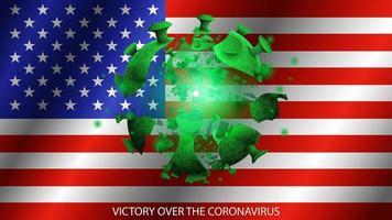 coronavirus en el fondo de la bandera de estados unidos vector