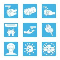 Coronavirus prevention icon set