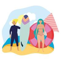 Couple at the beach doing summer activities vector