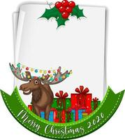 Blank paper with Merry Christmas 2020 font logo and reindeer vector