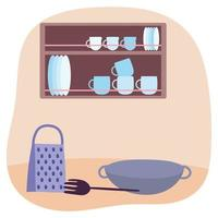 Kitchen utensils and interior vector