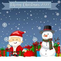 Merry Christmas 2020 font logo with santa claus cartoon character vector