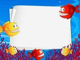 Banner de papel en blanco con rape y elementos de la naturaleza submarina en el fondo submarino