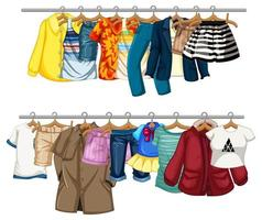 Many clothes hanging on a line on white background vector
