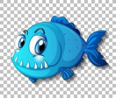 Blue exotic fish cartoon character on transparent background