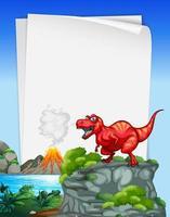 una plantilla de banner de dinosaurio en la escena de la naturaleza vector