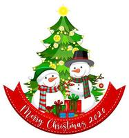 Merry Christmas 2020 font banner with Santa Claus and cute reindeer on white background vector
