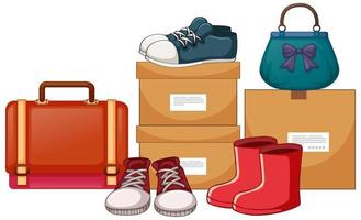 Bags and shoes with the boxes on white background vector