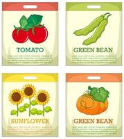 Set of different seed packaging on white background vector