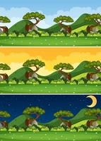 Nature landscape scene at different times of day vector