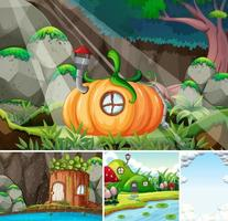 Four different scene of fantasy world with fantasy places and blank sky with some clouds