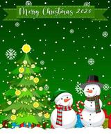 Merry Christmas 2020 font logo with snowman cartoon character vector