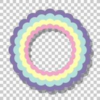 Pastel rainbow ring frame isolated on transparent background vector