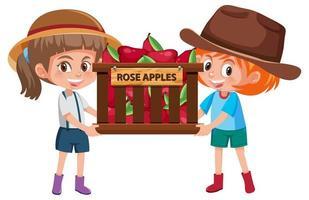 Niños niñas con frutas o verduras sobre fondo blanco.