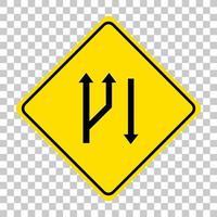 Señal de advertencia de tráfico amarillo sobre fondo transparente