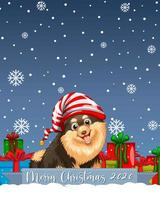 Feliz Navidad 2020 logotipo de fuente con personaje de dibujos animados de perro chihuahua vector