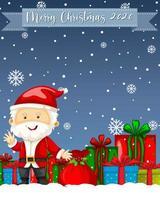 feliz navidad 2020 logotipo de fuente con personaje de dibujos animados de santa claus vector