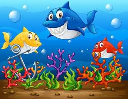 Many sharks cartoon character in the underwater background