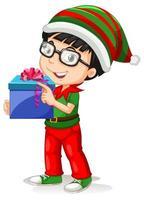 chico lindo con disfraces de navidad personaje de dibujos animados