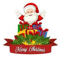 Merry Christmas font Santa Claus vector