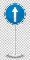 señal de tráfico azul sobre fondo transparente