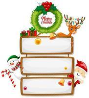 cartel de madera en blanco con el logotipo de fuente feliz navidad con personaje de dibujos animados de navidad sobre fondo blanco vector
