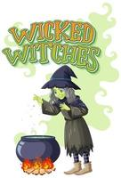 Wicked witches logo on white background vector