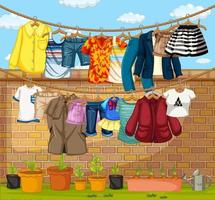 Clothes hanging on clotheslines outdoor scene vector