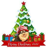 Feliz Navidad 2020 banner de fuente con lindo perro chihuahua sobre fondo blanco.