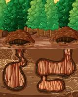 Empty underground animal hole vector