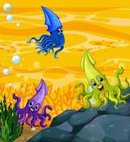 Many different squids cartoon character in the underwater background