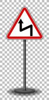 Left reverse bend sign with stand isolated on transparent background