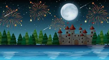 Celebration night over the castle vector