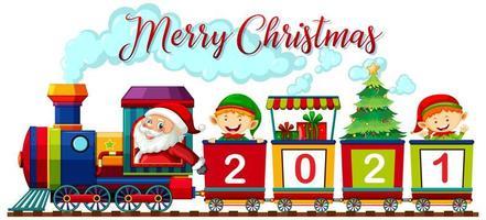 Feliz Navidad fuente con santa claus y elfo en el tren sobre fondo blanco.