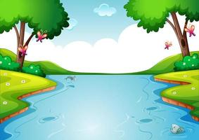 Blank river in forest nature scene background vector