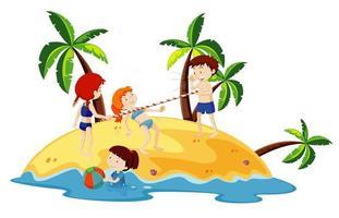 Ocean scene with people having fun on the beach vector